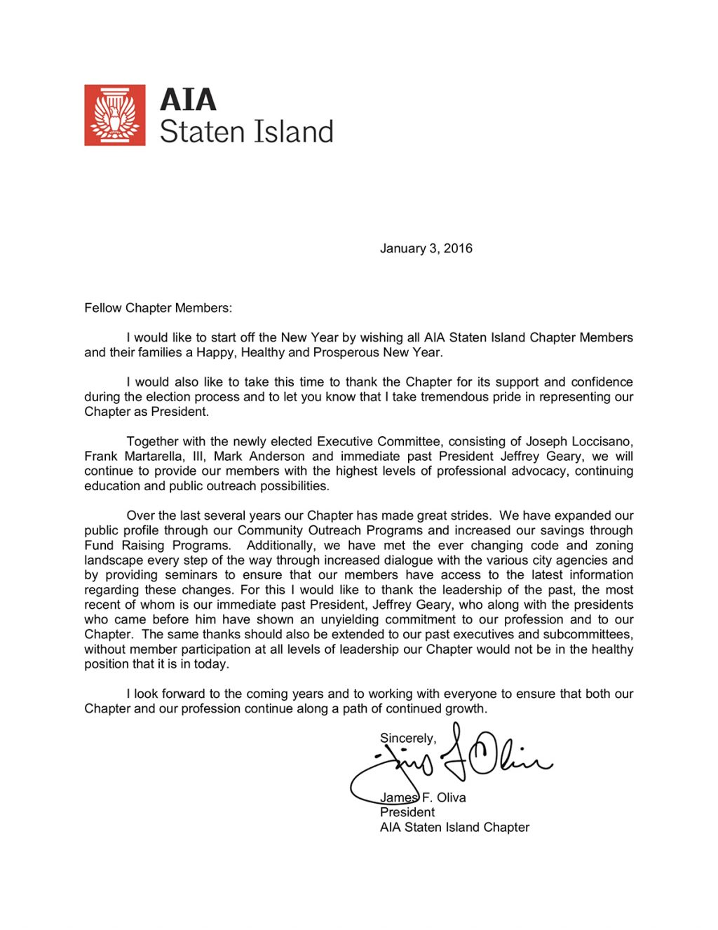 2016 Inaugural letter