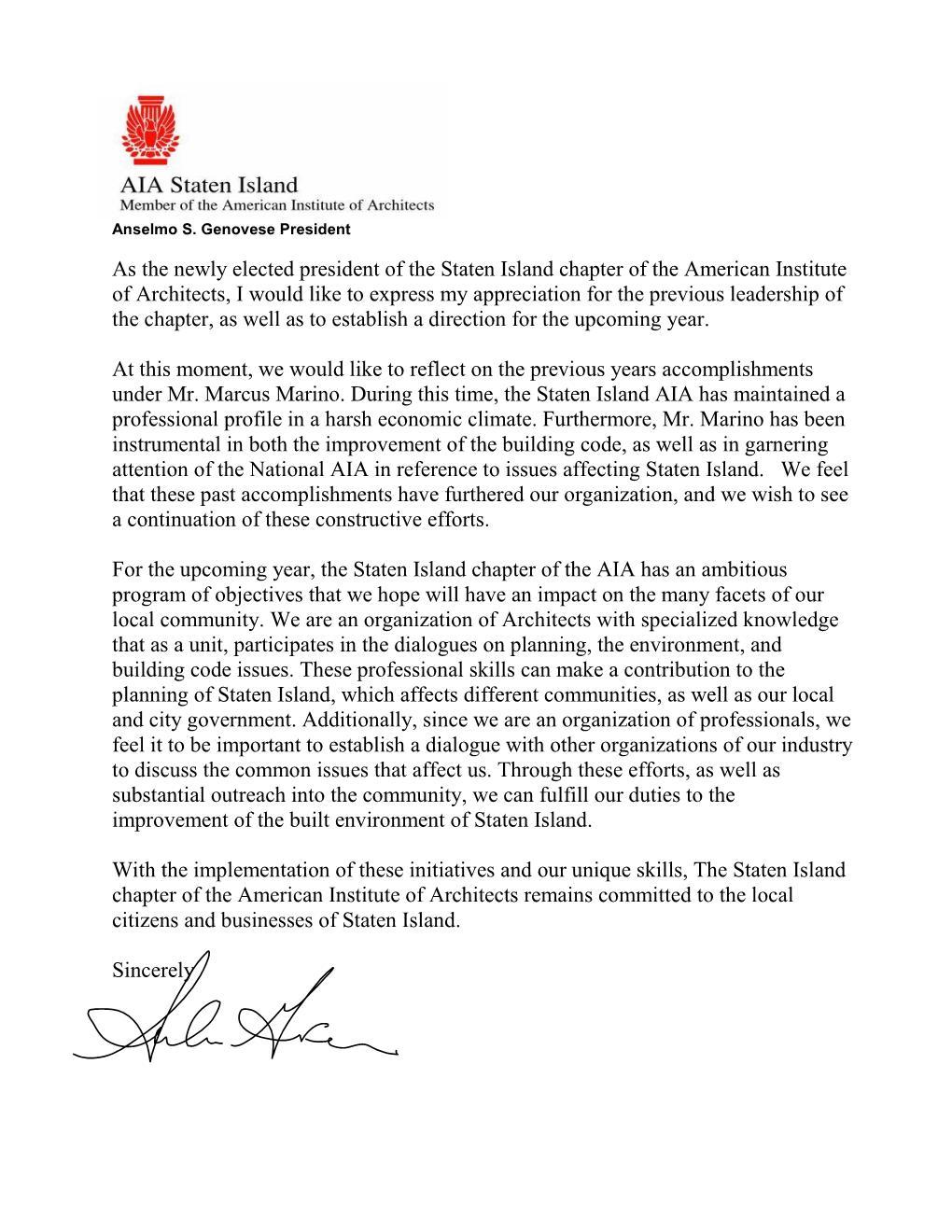 President_Anselmo_Genovese_inaugural_letter